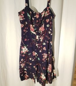 Floral dress, NWOT button front with slip